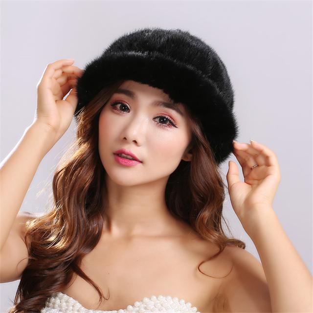Venta caliente sombrero de piel de visón real para las mujeres de invierno de punto piel de visón mujeres gorros Unisex color Sólido Caliente y cómodo cap # H9024