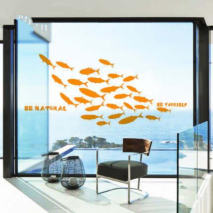 Marine wall stickers for living room fish wallpaper paste toilet bathroom  stickers bathroom glas PVC craft home decor