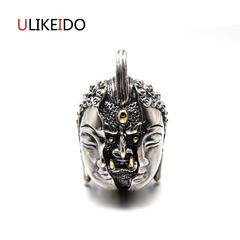 Pure 925 Sterling Silver Jewelry Buddha And Magic Charms Punk Pendants for Men Thai Silver Necklace Vintage Chain Fine Gift 648 gagafeel vintage 925 sterling silver chain man necklace dragon head thai silver necklace for men jewelry punk style high quality