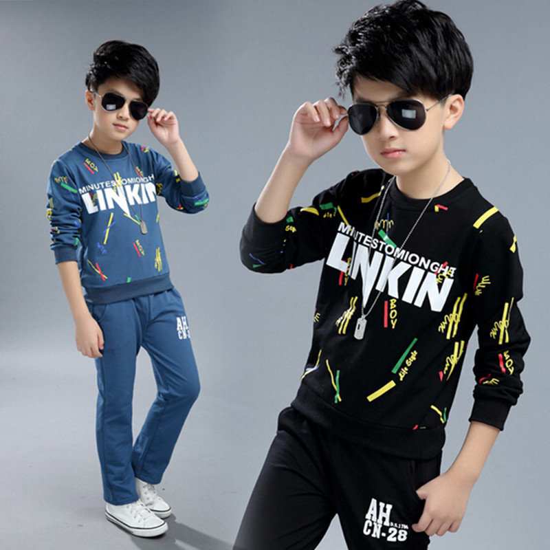 2017 Brand Boy Autumn Spring Sport Print Letter Clothing Set Long Sleeve Top+ Pants Kid School Cosplay Clothes Boy Clothes brooklyn letter cropped long sleeve top