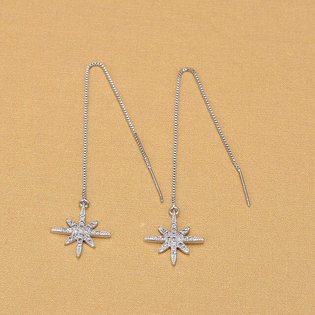 Женские длинные серьги из серебра 925 пробы с кристаллами