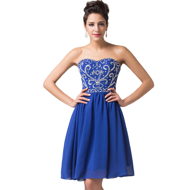 4413a2a2c43f1 US $68.8 |Free Shipping Royal Blue Cocktail Dresses 2017 Knee Length Party  Dress Tutu Homecoming Dresses Robe Courte Short Cocktail Gown-in Cocktail  ...