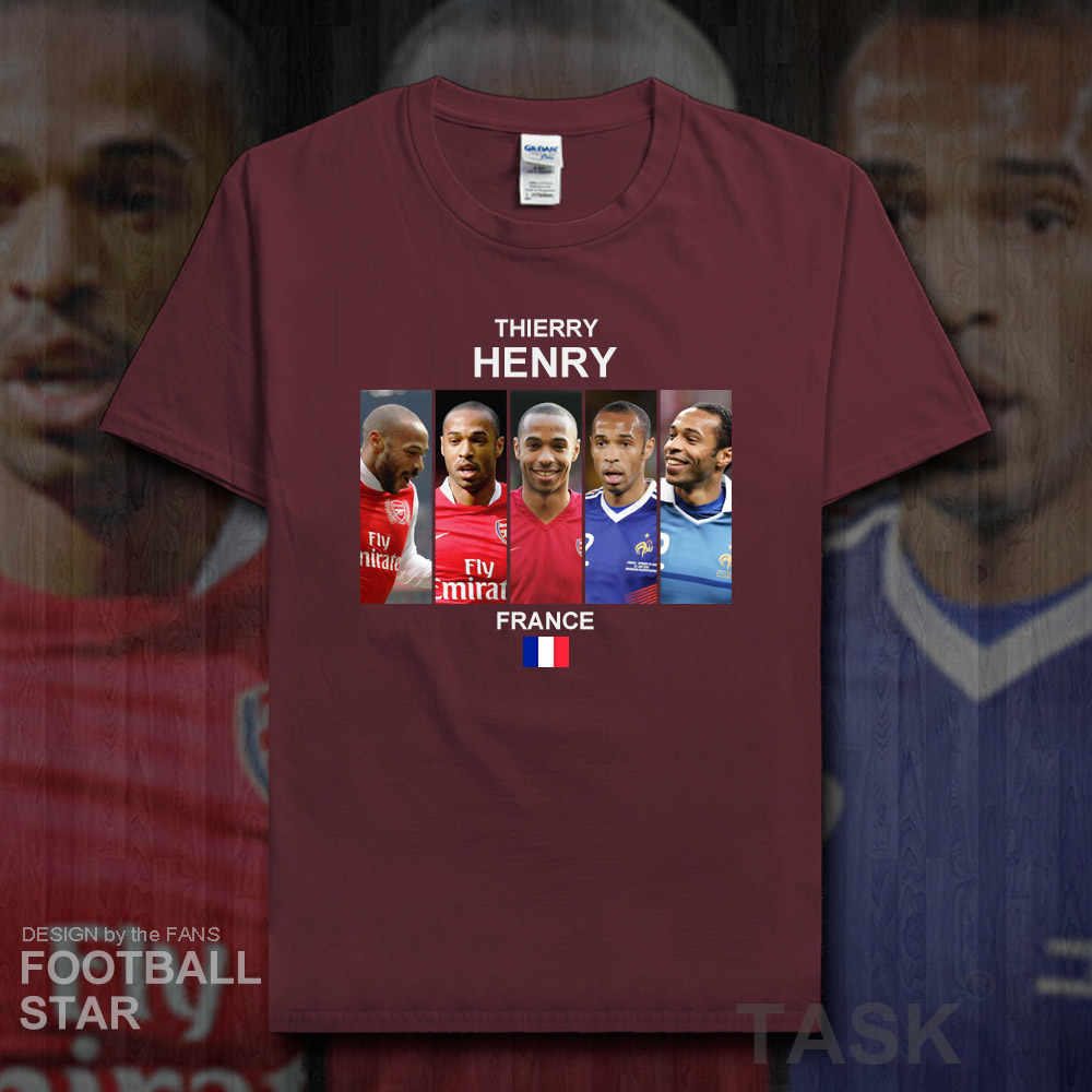 1a21600e8a2 ... Thierry Henry t shirt men jersey French footballer star tshirt 100%  cotton fitness t- ...