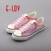 נשים עיצוב גבוה הסוף E-LOV חלום גרפיטי מצויר ביד נעלי בד מזדמן נעלי בד נמוך למעלה בד נעל שטוחה