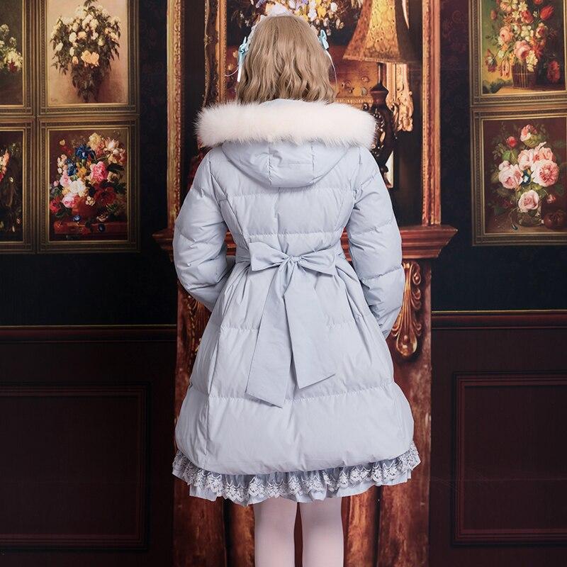 Douce Épaississement Lolita Belle rose Princesse Femmes Cheveux Automne blanc Zjy138 Et Vers Chaud Ciel Bas Parkas D'hiver Col Rose Adorable Le Pu CYppdSx
