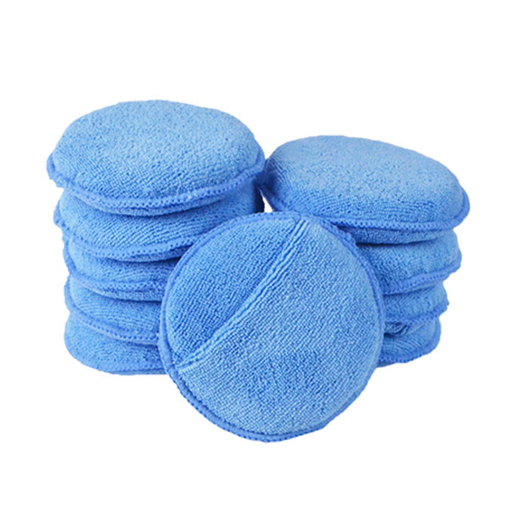10pcs Car Waxing Polish Soft Microfiber Foam Sponge Applicator Cleaning Detailing Pads 5