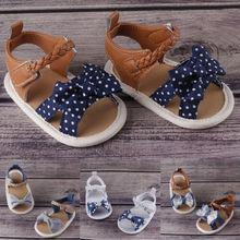 Летняя обувь на мягкой подошве для маленьких девочек; сандалии с бантом для малышей; сандалии для малышей