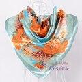 [BYSIFA] светло-Голубой Атлас Шарфы Для Женщин 90*90 см Китайские Розы Имитационные Шелковый Шарф Шаль Осень Зима Тепло Шарфы мыс
