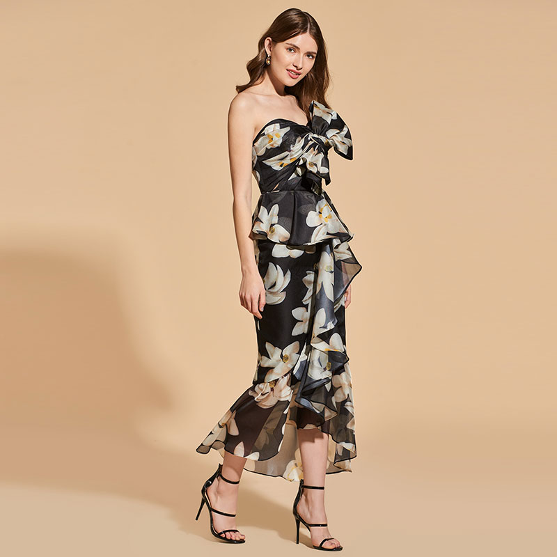 Tanpell strapless   cocktail     dress   printed ankle-length zipper-up sheath   dress   women party custom short   cocktail     dresses