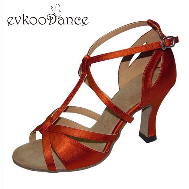 Heel Height 7cm Zapatos De Baile Size US 4-12 Brown Silver Black Skin Tan Professional Girls Popular Latin Dance Shoes NL064
