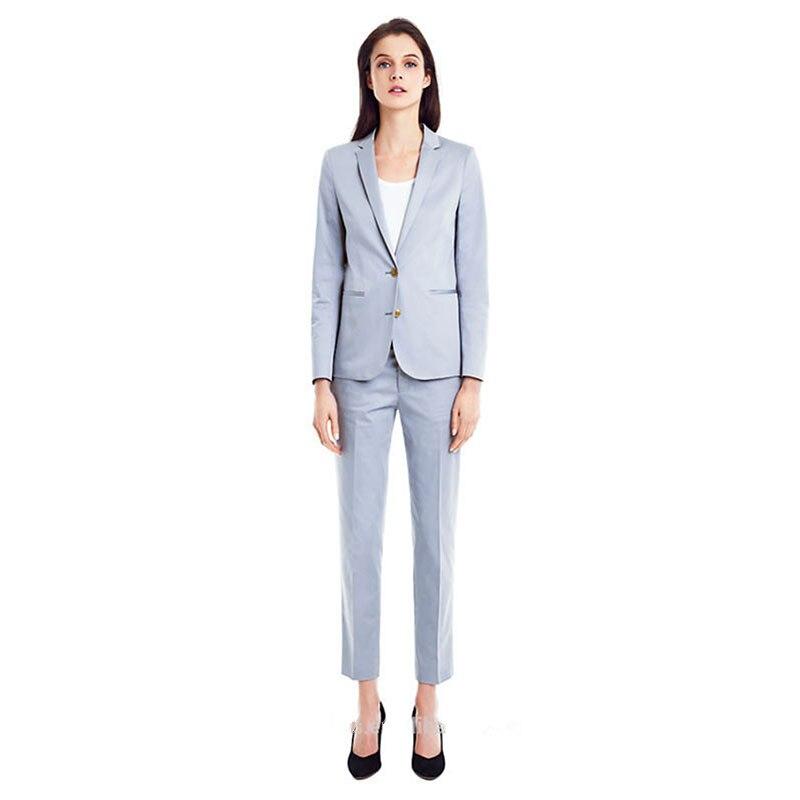 Women Pant Suits Light Sky Blue Women Tuxedos Shawl Lapel Suits For Women Two Button Business Work Suits Ladies Trouser Suits