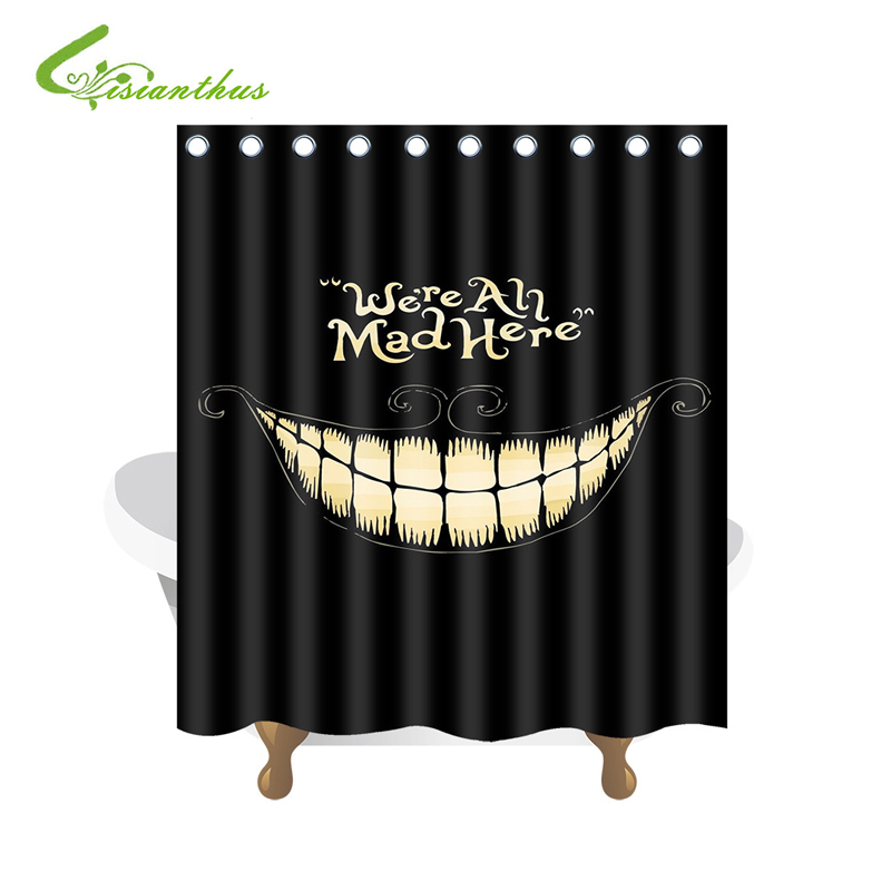 High Quality Funny Shower Curtain Were an Mad HereWaterproof Bathroom Black Shower Curtain Polyester Fabric Bathroom Curtain