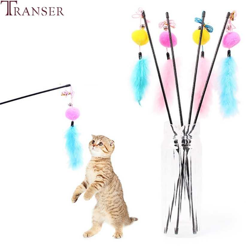 Transer tanie zabawka dla kota pluszowa piłka dzwon zabawki interaktywne z piórkiem dla kotów pies 80710