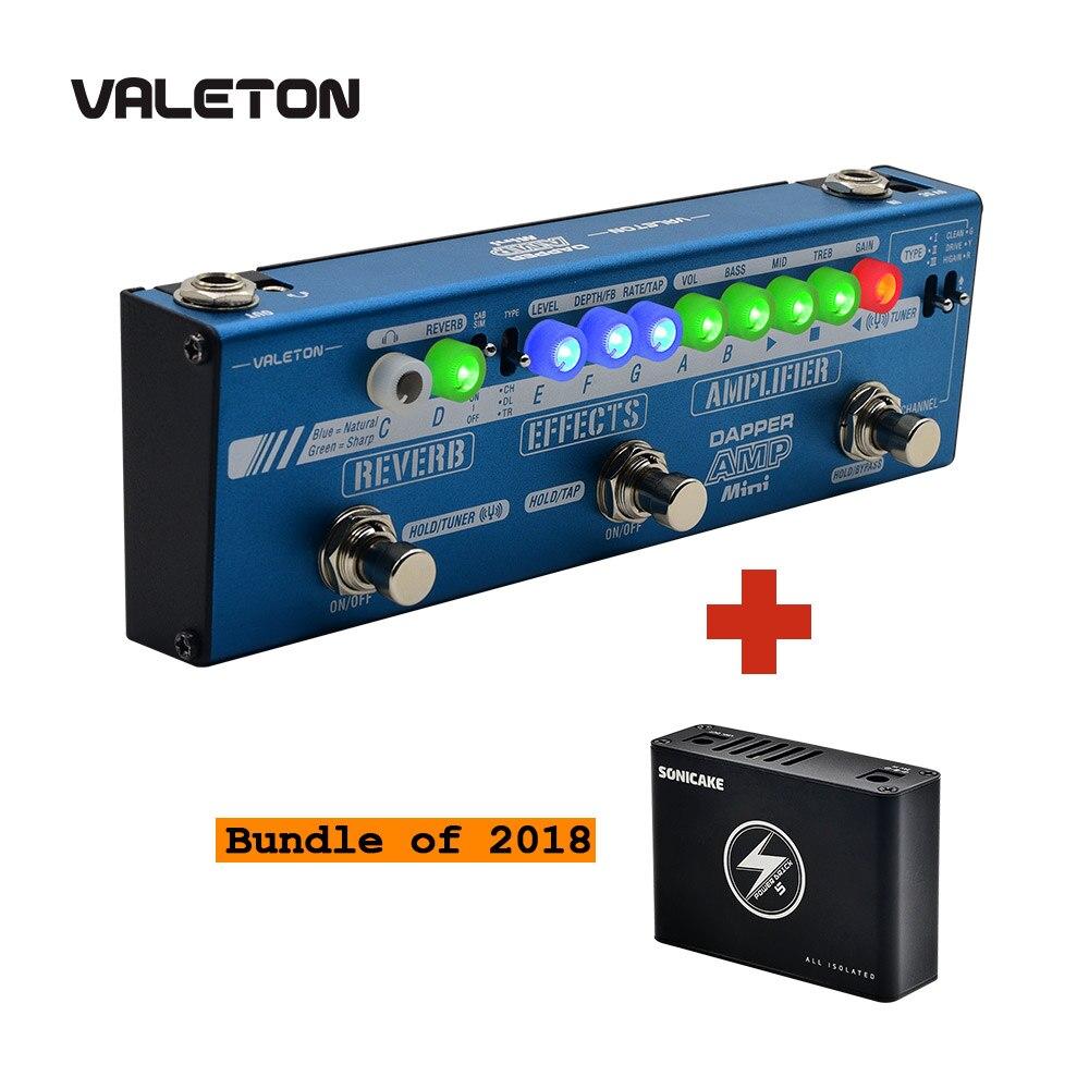 Valeton Dapper Amp Mini Effect Strip педаль с тюнером, усилителем, эффектами, модулем реверберации, плюс изолированный источник питания 5 Выход постоянного