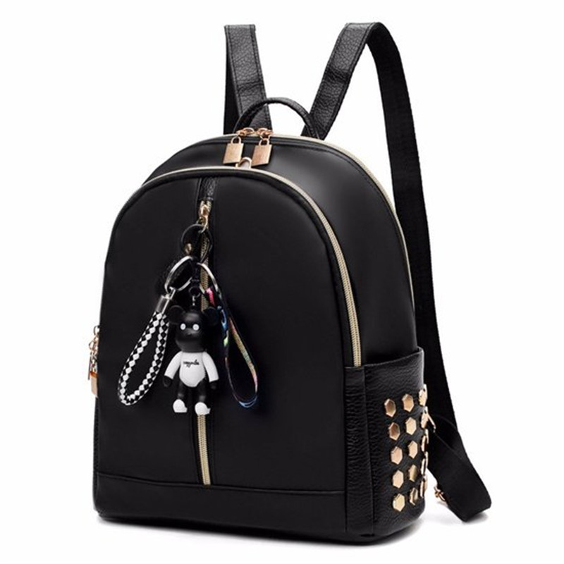 Ribbon Nylon Oxford Rivets Backpack Female Colorful Letters Travel Backpacks For Women Casual Canvas Waterproof School Bag 2018