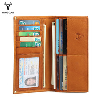 Mingclam Men Women Wallet Genuine Leather Long Clutch Wallet Bifold Purse Slim Fashion Male Wallets Carteira Card Holder Bag