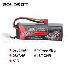 Аккумулятор GOLDBAT Lipo 5200 мАч, 7,4 В, 50C, 2S, 5200 мАч, LiPo аккумулятор для RC 7,4 В с разъемом Deans для RC Evader, Truggy Heli