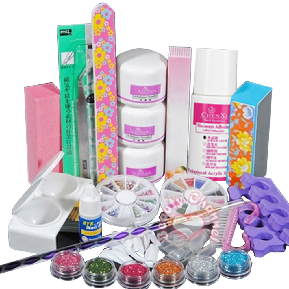 Us 20 59 Professional Acrylic Color Powder Nail Art Tools Deco Tips Set Brush Dust Form Toe Kit Diy Glitter Decoration Nail Art Deco Tips In Sets