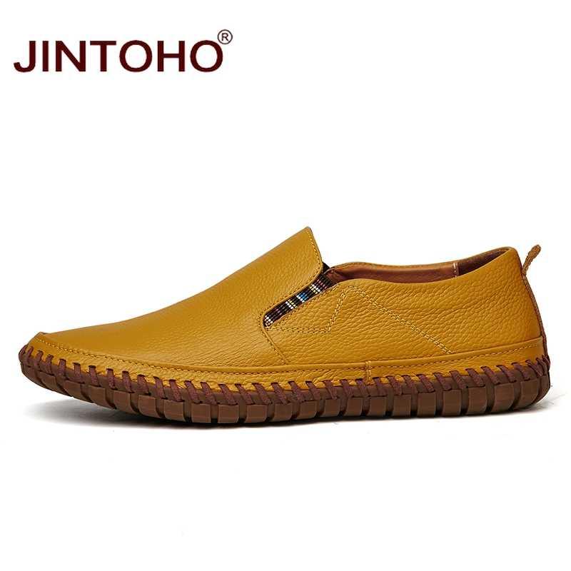 Jintoho Size Lớn Nam Da Thật Chính Hãng Da Giày Slip On Đen Giày Da Thật Cho Nữ Nam Mộc Mạch Trà Giày Ý Giày Thiết Kế