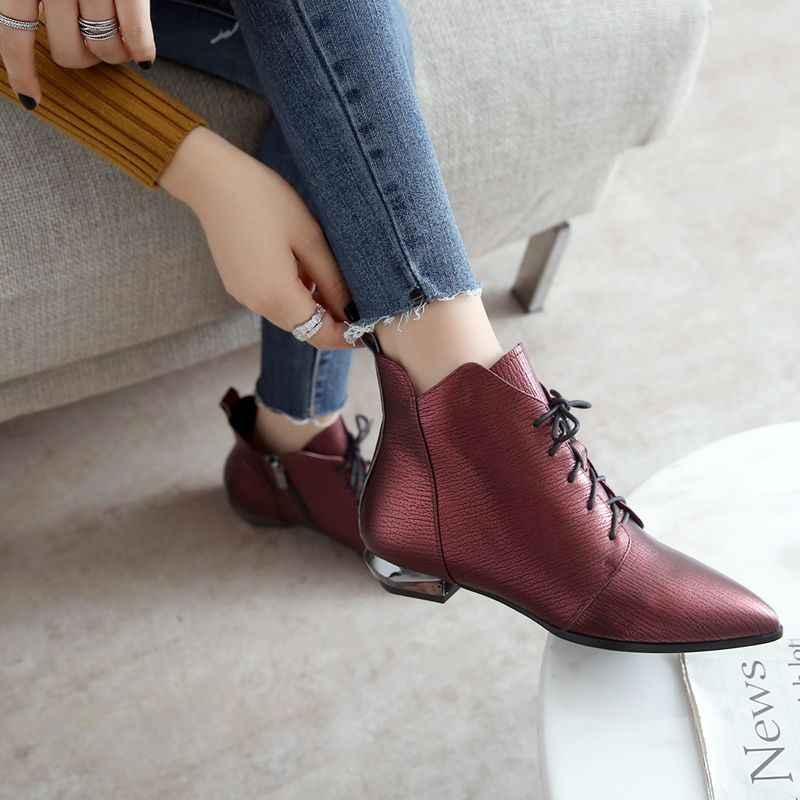 ODS Botas Mujer femmes chaussures plates d'hiver en cuir véritable bottines à la main femme chaussures femme dames bout pointu 34-42