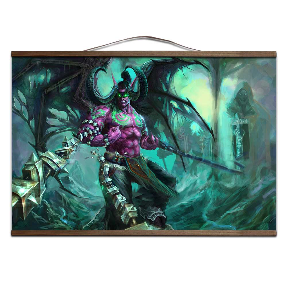 World of WarcraftS With solid wood hanging shaft Lich King Illidancanvas prints posters decoration painting for HD no frame 1