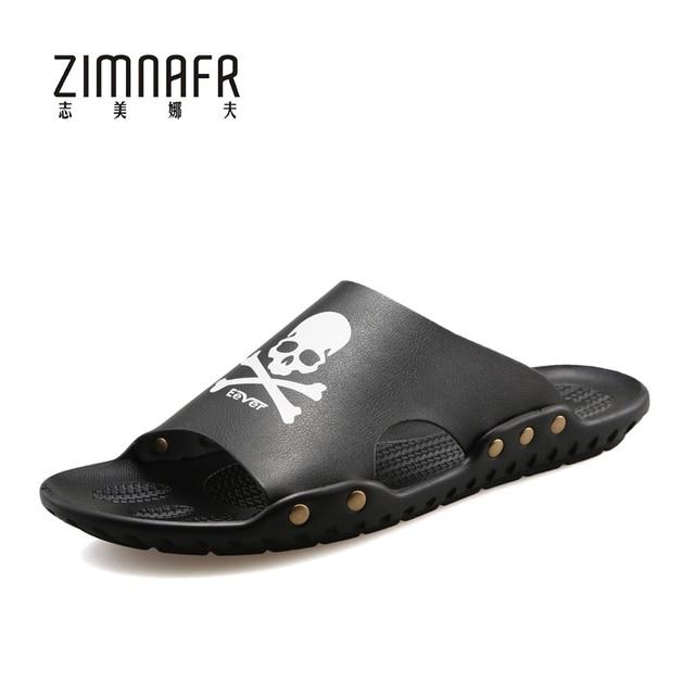Chanclas Hombre Marca SKULL Slippers Beach Sandals Summer Outdoor Shoes For  Youth Skull Zapatillas Hombre Calzado Hombre 2017 7a69601b6376