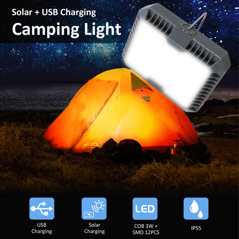 T-SUNRISE LED Camping Lights 3 Mode Outdoor Tent Camping Lantern Solar Flashlights Lamp USB Rechargeable Portable Hanging Lamps