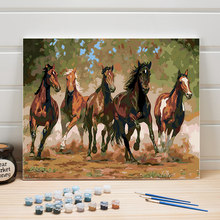 Horses Color By Number 40x50 Animals Paint Acrylic On Canvas Oil Painting Numbers Wall Pictures For Living Room One Piece Kits(China)