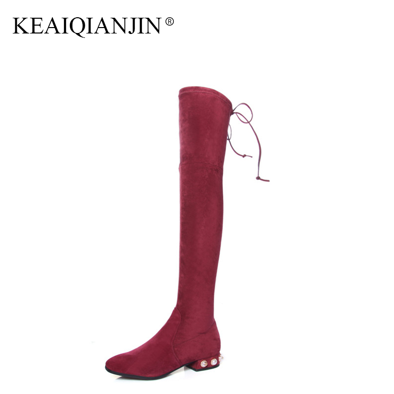 KEAIQIANJIN Black Autumn Winter Shoes Plus Size 41 43 Red String Bead Knee High Boots Woman Genuine Leather Over The Knee Boots цена