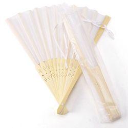24 pcs/lot White Folding Elegant Silk Hand Fan with Gift bag Wedding & Party 21cm
