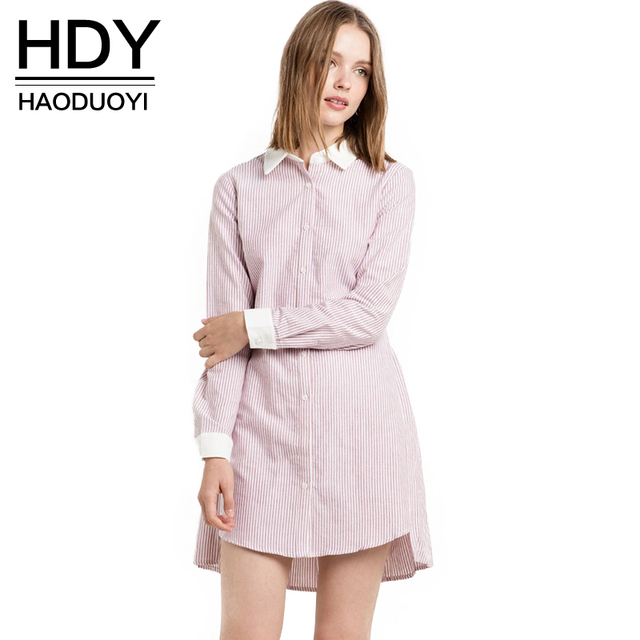 aae8be8c344d3 HDY Haoduoyi De Mode Femmes Robe Rayé Rose Cut Out Back Robe Chemise Manches  Longues pour
