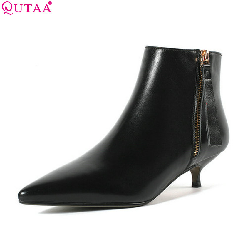 QUTAA 2019 Women Ankle Boots Pointed Toe Zipper Genuine Leather+pu All Match Winter Shoes Women Motorcycle Boots Size 34-39 women s ankle boots strappy pointed toe vogue comfy all match shoes