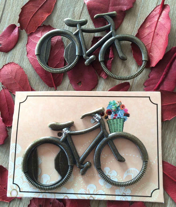 vintage wedding favor gift giveaways-- Lets Go On an Adventure Bicycle Bottle Opener party favor souvenir bike bottle opener