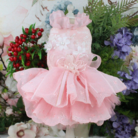 Pet Dog Dress Handmade Embroidered Fresh Style For Small Dogs Pink Lace Flower Adorn Pearl Princess Wedding Dress Puppy Poodle
