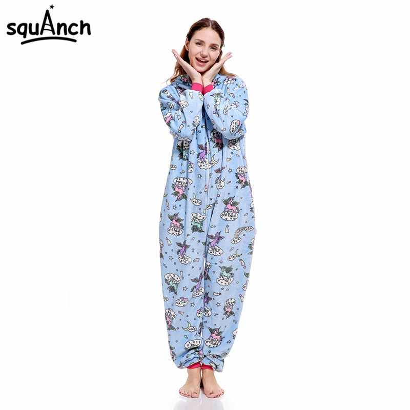 5047986290 Unicorn Kigurumi Onesie Zipper Design Animal Cartoon Pajama Print Rainbow  Stars Fly Unicorns Sleepwear Women Girl