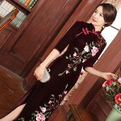 2019 Fluwelen Mom Vintage Cheongsam Ontwerp Bruidsjurken Moderne Qipao Traditionele Chinese Oosterse Jurken Lange Borduurwerk Jurk
