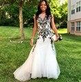 Blanco Sirena Vestidos de Baile Con Apliques Negro Elegante Vestidos de Partido Largo de Tul Vestidos de Graduación de África