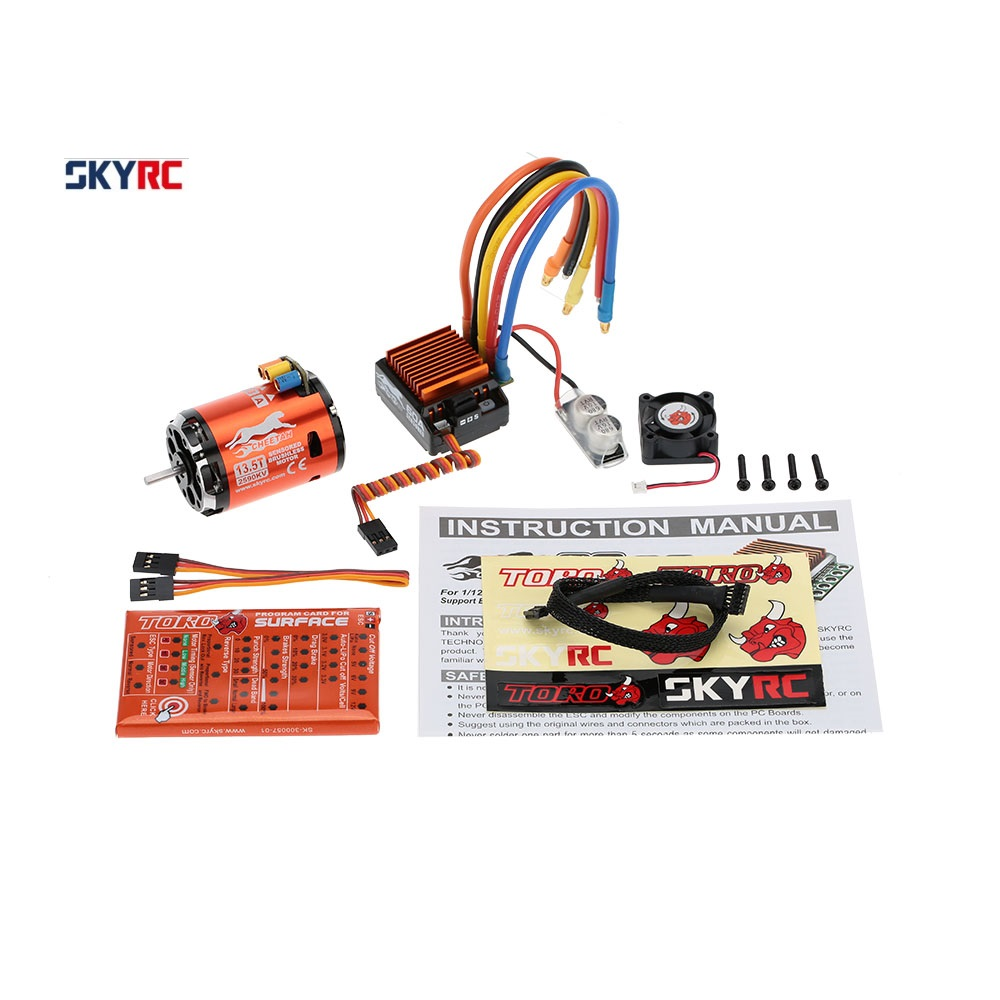 SkyRC 13.5T 2590KV 2P Sensored Brushless Motor+CS60 60A Sensored Brushless ESC+LED Program Card Combo Set for 1/10 1/12 RC Car skyrc leopard 60a esc brushless motor 9t 4370kv 1 10 car combo with program card for car boat