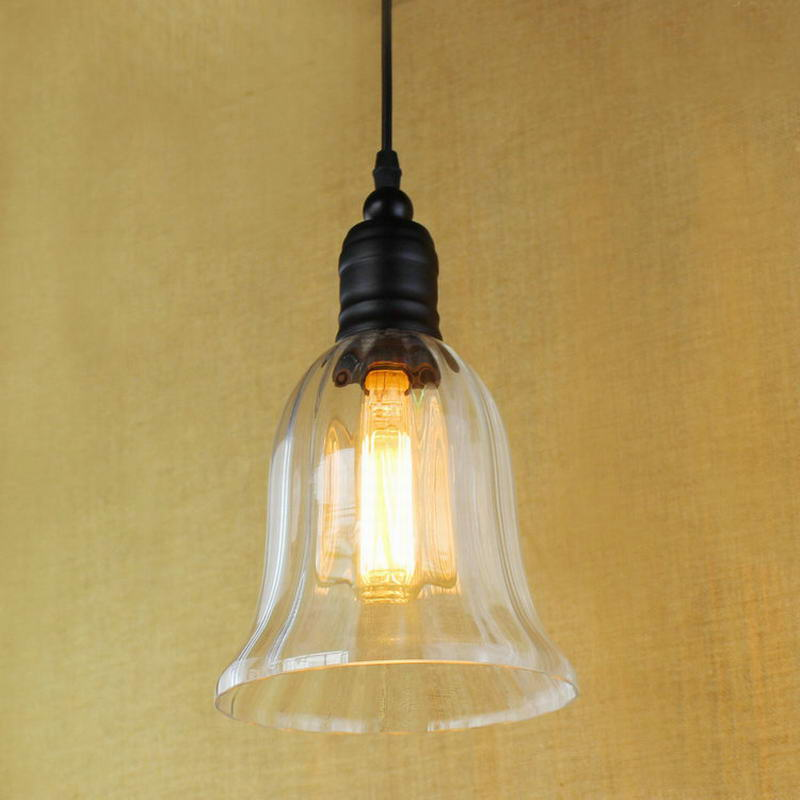 Hanging clear glass horn shade Pendant Lamp with Edison Light bulb|Kitchen Lights and Cabinet Lights