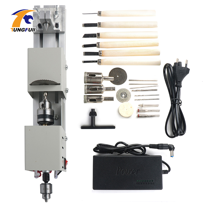 Mini Lathe Beads Machine DIY Woodworking With Power Carving Cutter Polishing Beads Wood Drill Rotary Tool 12 24VDC