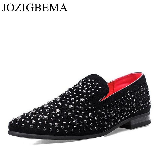 f7c7bfd5abf JOZIGBEMA New Dandelion Spikes Flat Leather Shoes Rhinestone Fashion Men  Loafer Dress Shoes Men Casual Diamond Pointed Toe Shoes