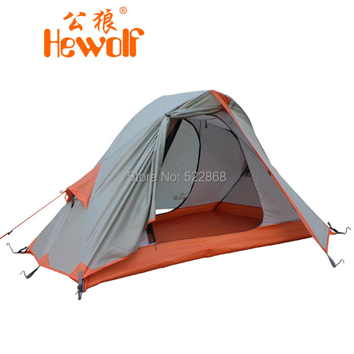 Hewolf high quality 2 25kg single person double layer waterproof camping tent
