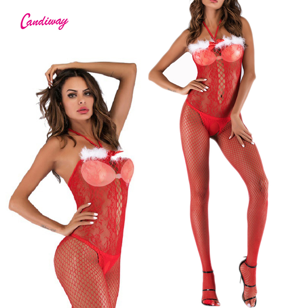Christmas Costume Sexy Lingerie White Feather Elastic Stockings Openwork Net Flower Sling Open-Back Crotchless Bodystocking