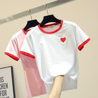 Loving Embroidered T shirt Women's New Spring 2019 Korean Simple Basic Shirts Cotton T Shirts Girls Students Tee Tops Tees