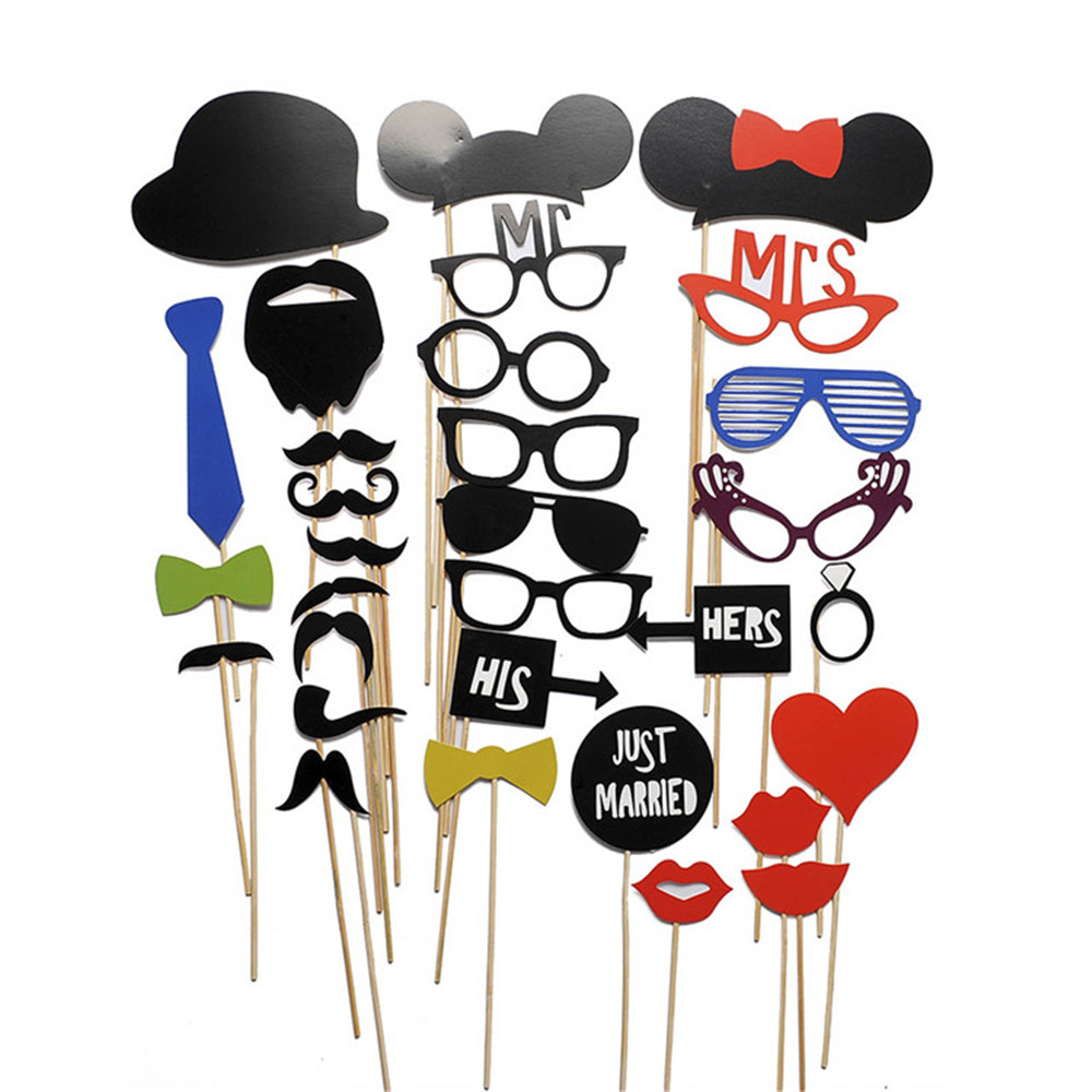 31pcsset wedding photo booth costume props picture frame dress up mask wedding birthday party - Costume Props
