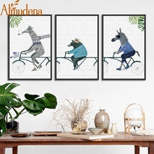 Nordic Poster Minimalist Abstract Animal Cute Cartoon Wall Art Painting for Living Room Home Decoration Framed Canvas Picture
