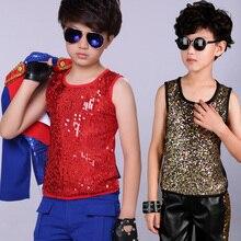 2019 Jazz danza traje niños Chaleco con lentejuelas superior etapa traje  niños Hiphop ropa de los niños de la calle baile desgas. c238e112f6f
