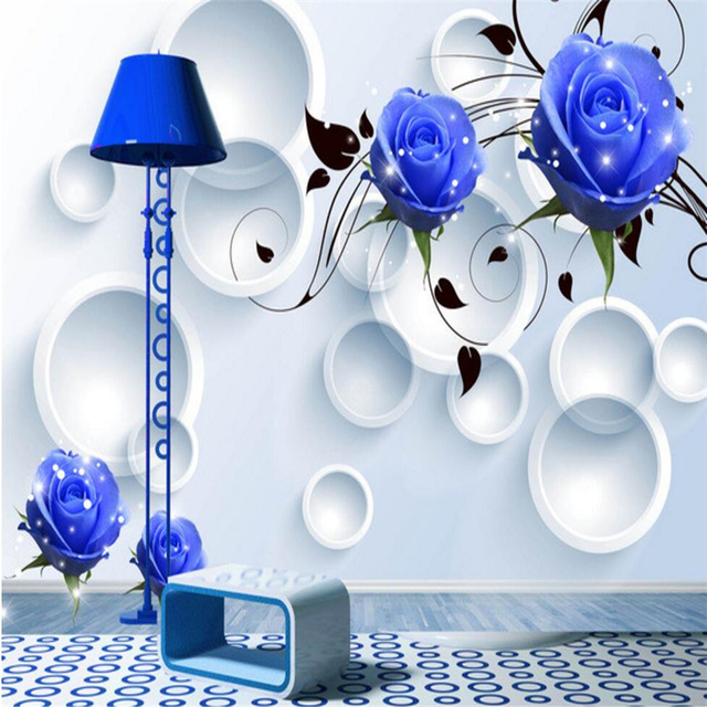 Beibehang Blu Rose Tv Sfondo Camera Da Letto Rivestimento Murale