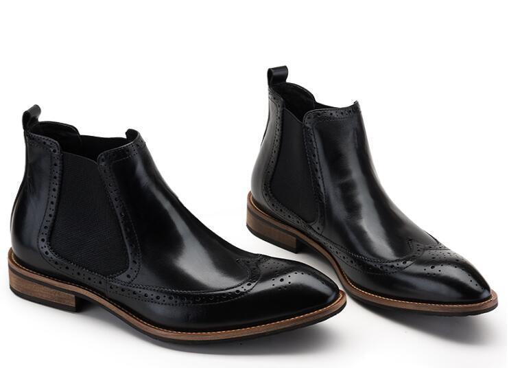 Zapatos Bans Botas Brogue Black Slip Genuino red Vestir Elástico Altos Cuero  Botines On Romanas Superiores ... 63fa96605c17