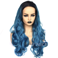 Synthetic Lace Front Wig Body Wave Hair 22 26 Inch Lace Wigs for Black Women Ombre Blue Mixed with Green Glueless Synthetic Wig